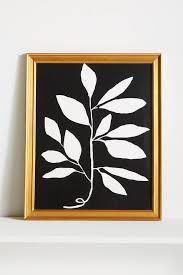 branch black white gold frame wall art