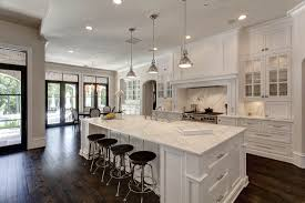 Interior Tips Bar Stools And White Kitchen Cabinets With Pendant