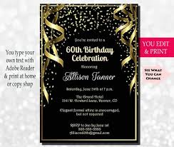 Birthday Party Invitation 60th Birthday Invitation 60th Birthday Party Invitation 60th Etsy
