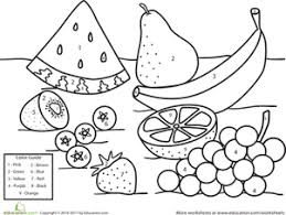 Small Picture Color by Number Fruit Kindergarten colors Number worksheets and