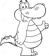 Small Picture Outlined Smiling Aligator Or Crocodile Showing Thumbs Up Royalty