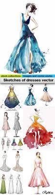 эскизы платьев вектор Sketches Of Dresses Vector