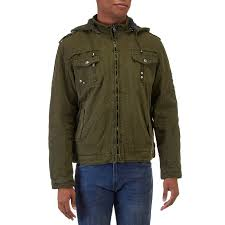 mens faux fur lined jacket with detachable hood