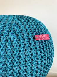Teal Knitted Pouf