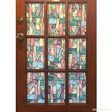 window stained glass window privacy bloss non adhesive static cling for door home office