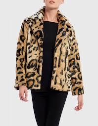 white leopard print faux fur jacket