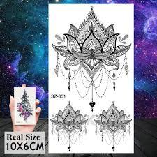 3pieces Stejný Styl Mandala Květina černá Henna Dočasné Tetování řetězy Falešné šperky Tělo Umění Kreslení Arm Hrudník Vosy Tetování Pro ženy Móda