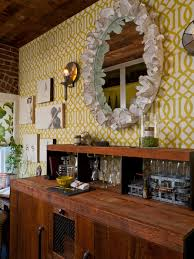 wallpaper designs for office. Photos Hgtv Country Style Bar With Yellow Trellis Wallpaper And Round Mirror. Cool Office Designs For