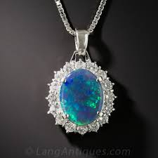 black opal and diamond pendant necklace previous to enlarge photo