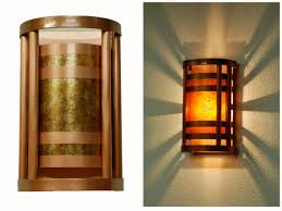 sconces wall lighting. Column Wall Sconce. Light Antique Copper Finish With Amber Mica. Small Size. Sconces Lighting O