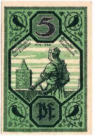 Германия нотгельды merseburg Мерзебург пфеннигов год  Германия нотгельды merseburg Мерзебург 5 пфеннигов 1921 год контрольный номер красный