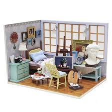 miniature wooden dollhouse furniture. Wooden Dollhouse Furniture Kit Miniature Studio Craft Model DIY Doll House LED Lights Handmade Birthday Christmas 2