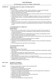 Customer Service Clerk Resume Samples Velvet Jobs