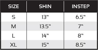 Shin Guard Size Chart Premier Shin Guards