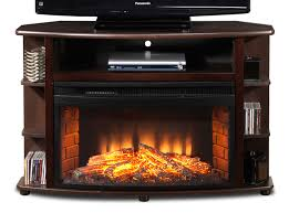 corner tv stand with fireplace and shelving in brown wooden