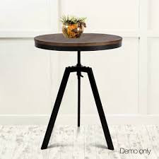 round dining table ferrum retro industrial metal bar elm wooden café coffee