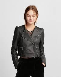 express puff sleeve cropped faux leather jacket