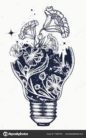 лампочка арт нуво тату цветы футболку дизайн символ идея творчества