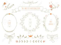 Of Wreaths Hand Drawn Set Of Wreaths Ribbons Laurel And Labels On