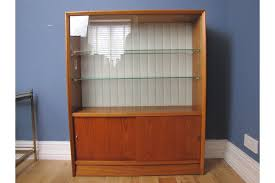 mid century teak herbert gibbs display cabinet bookcase sliding glass doors and glass shelves photo 1