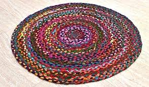 chindi rag rug hand woven reversible cotton red with multi color braid 3 feet round this