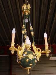 gilt and polychromed bronze empire style globe four light chandelier