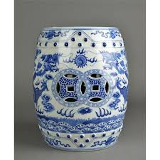 chinese blue white porcelain garden stool
