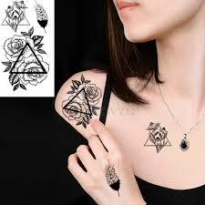 водостойкая временная татуировка наклейка роза из перьев треугольник временная