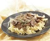 beef stroganoff with cremini   porcini mushrooms