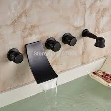 wall mounted antique waterfall bathroom bath tub faucet w hand shower oil rubbed bronze
