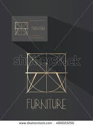 stock vector furniture design pany logo night table with drawer in blue print style line art pany