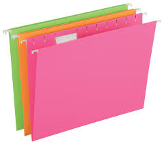 Pendaflex Glow Hanging File Folders Letter Size Assorted 12 Pack