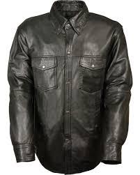 zoomed image milwaukee leather men s black lightweight leather shirt black