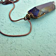 wire wrapped purple druzy quartz crystal pendant on rustic copper snake chain necklace pluto