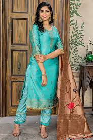 Images Of Designer Party Wear Salwar Kameez Cyan Color Designer Party Wear Salwar Kameez In Jacquard Fabric