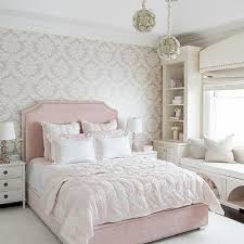 girls upholstered bed. Perfect Bed Blush Pink Velvet Bed With Gray Damask Wallpaper In Girls Upholstered