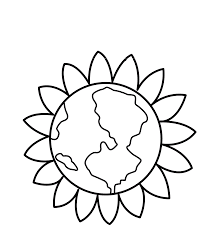 Earth Day Flowers Beautiful Coloring Picture