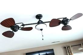 harbor breeze 44 in double headed brushed nickel ceiling fan with light dual oscillating outdoor