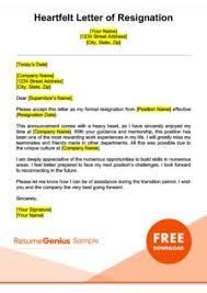 Resume Reason For Leaving Life Specific Resignation Letters Samples Resume Genius