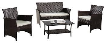 modern outdoor garden patio 4 piece seat wicker sofa furniture set brown
