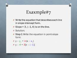 exaxmple 7 write the equation that describes each line in slope intercept form