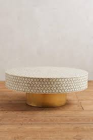Targua White Tiled Brass Coffee Table