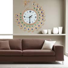 large wall clock peacock art metal modern luxury diamond indoor home living room com