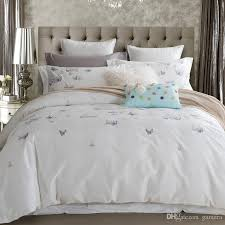 whole 100 cotton erfly bedding set white embroidered bedroom duvet cover set king queen size with bed sheet pillowcase king size duvet comforter