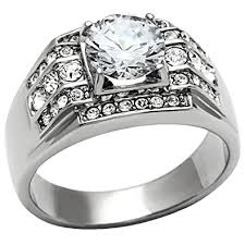 <b>Men's Stainless Steel</b> Round Cluster Cubic Zirconia Wedding <b>Band</b> ...