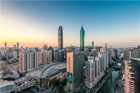 high tech modern architecture buildings. Luohu District In Shenzhen, Which Used To Be A Poor Village, Is Now  Flourishing Residential Area With Modern Apartment Buildings. High Tech Architecture Buildings G