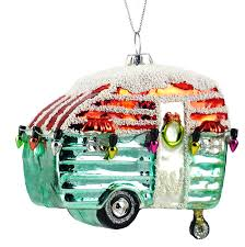 Retro Camper Party Lights Happy Camper Retro Glitter Hanging Christmas Ornament
