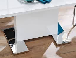 Esstisch Panos 120160x80 Cm Säulentisch Hochglanz Weiß Ausziehbar