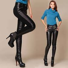 2016 skinny pencil black leather pants for girls