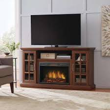 freestanding infrared electric fireplace tv stand in burnished walnut